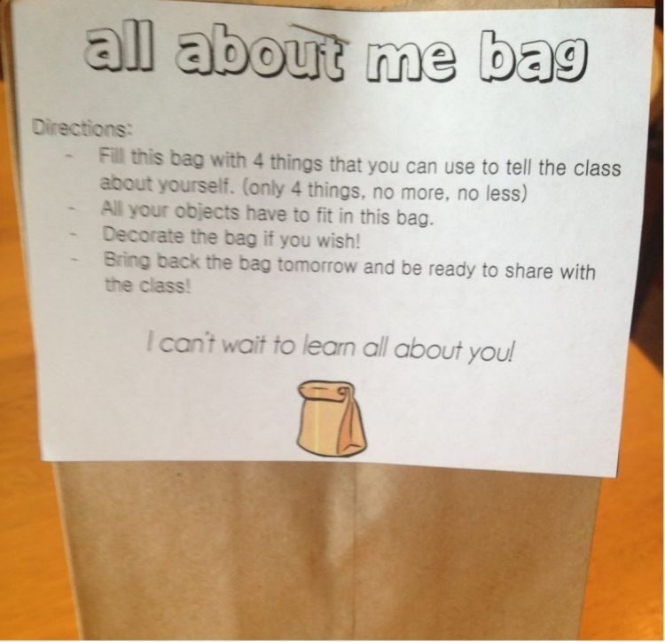 ALL ABOUT ME BAG -Primeros días de clase-