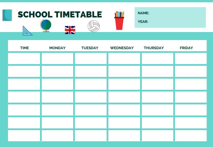 PRINTABLE: SCHOOL TIMETABLE