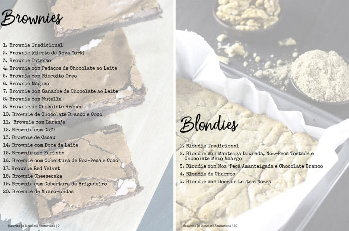 Receitas de Brownies e Blondies – Clique para ver maior