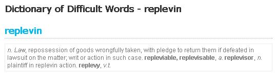 significado de replevin