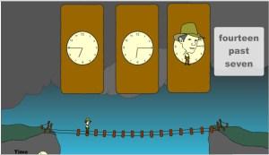 tela do jogo para aprender as horas em inglês