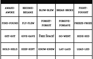 categorias de verbos irregulares