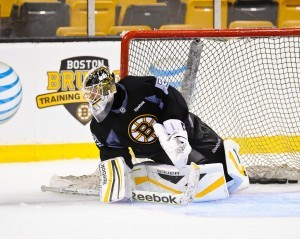 AHL Goalie of the Year Niklas Svedberg work on a post integration technique at Boston Bruins training camp, which will be more important with the smaller nets. (InGoal photo by Scott Slingsby)