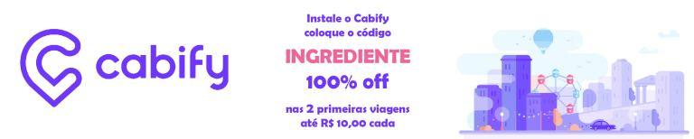 Instale o Cabify, coloque o código INGREDIENTE e tenha 100% off nas 2 primeiras viagens até R$ 10,00 cada.