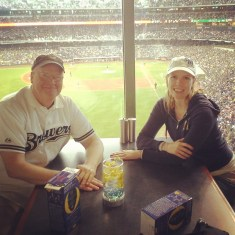 Dad and I at the brewer game