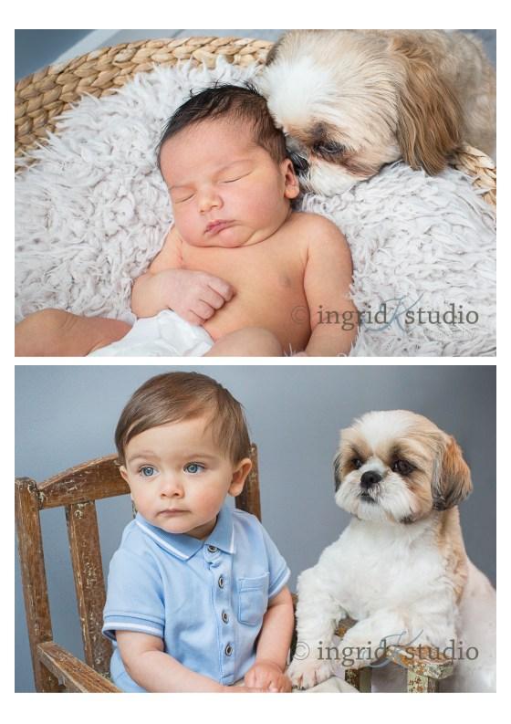 * Sebastien, newborn then 1, with fur-sister Ellie *