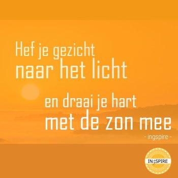 Mooie Quote: Hef je gezicht naar het licht en draai je hart met de zon mee - copyright citaat www.ingspire.nl