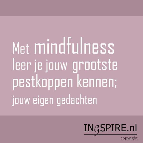 Mindfulness citaat van Inge Ingspire.nl: Met mindfulness leer je jouw grootste pestkoppen kennen ...