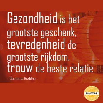 Citaat: Gezondheid is het grootste geschenk, tevredenheid de grootste rijkdom, trouw de beste relatie.