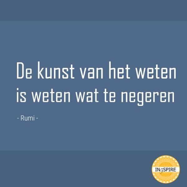 Citaat van Rumi over de kunst van het Weten.