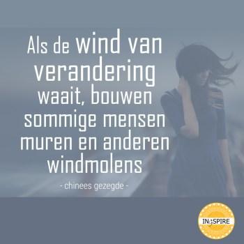 Spreuk over omgaan met verandering: Als de wind van verandering waait, bouwen sommige mensen muren en anderen windmolens | chinees gezegde ingspire