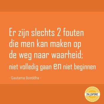 Er zijn slechts 2 fouten die men kan maken op de weg naar waarheid - Wijsheid van Boeddha op ingspire.nl