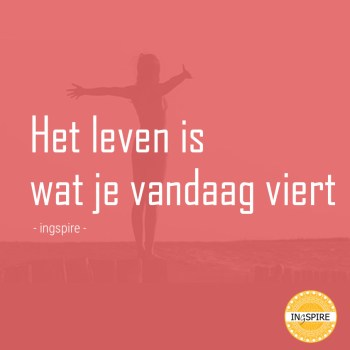 Spreuk - Het Leven is wat je vandaag viert! - © citaat ingspire.nl