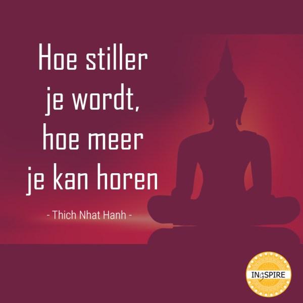 Hoe stiller je wordt hoe meer je kan horen is het citaat van Thich Nhat Hanh, een bekende mindfulness leraar