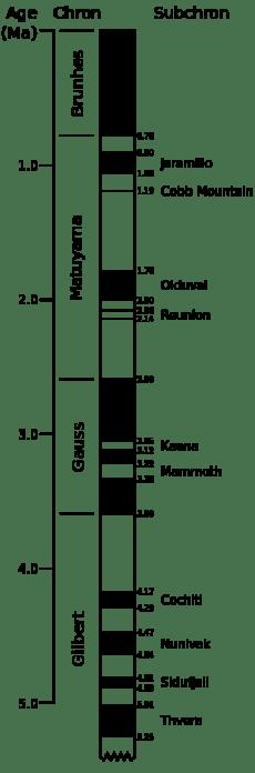 Dettaglio della sequenza delle inversioni di polarità magnetica durante gli ultimi 5.3 milioni di ann