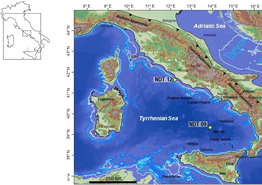 Ubicazione delle carote NDT09 and NDT12 prelevate nel mare Tirreno centro-meridionale