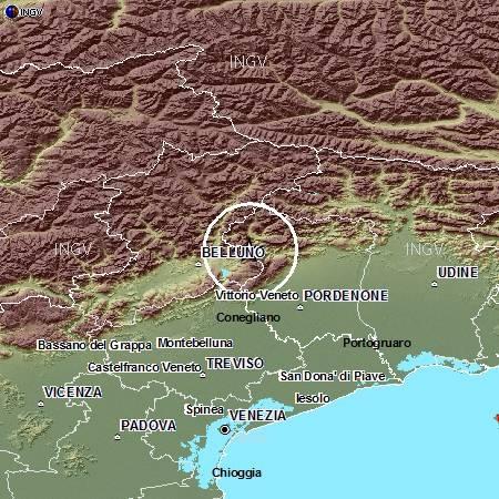 Terremoto tra le province di Belluno e Pordenone: evento M4.5, 9 giugno ore 04.04