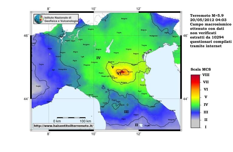 Terremoto in Pianura Padana Emiliana: Mappe dell'Intensità Macrosismica ottenute dai questionari compilati sul web (www.haisentitoilterremoto.it)