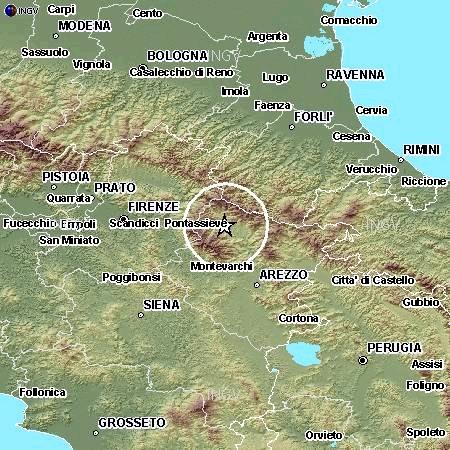 """Terremoto """"profondo"""" in Toscana (Arezzo) 11 giugno 11:48 (M3.7)"""