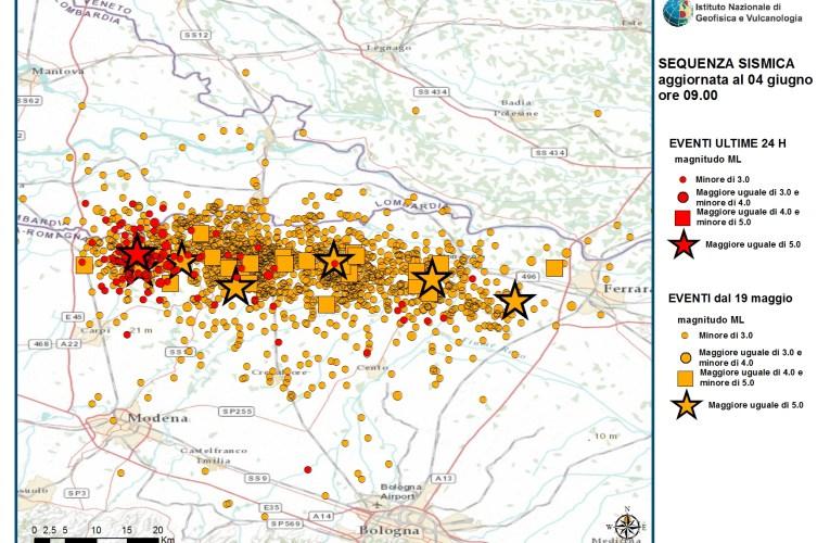 Terremoto Pianura Padana Emiliana: aggiornamento ore 09.00 del 4 giugno