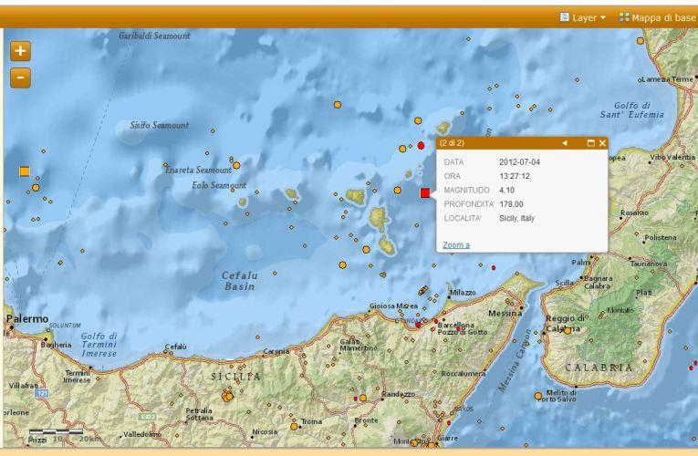 Evento sismico nelle Isole Lipari, M 4.1, 04 luglio ore 15.27