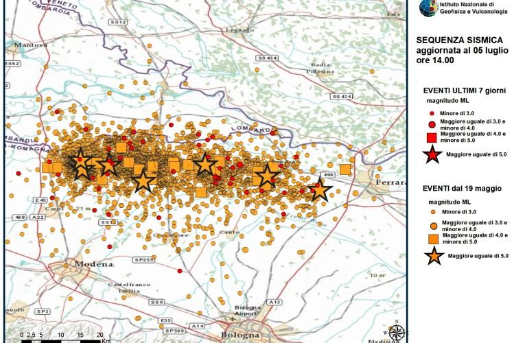 Terremoto in Pianura Padana: aggiornamento (5 luglio)