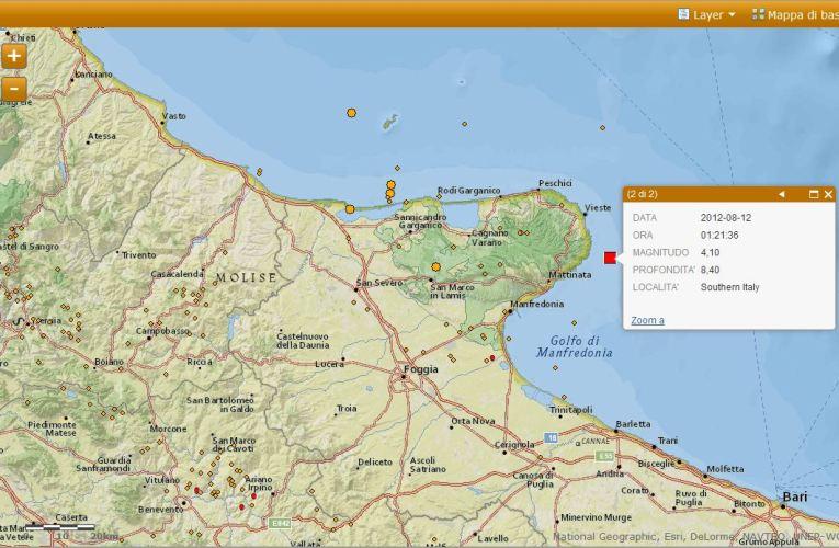Evento sismico nel Promontorio del Gargano, M 4.1, 12 agosto ore 03.21