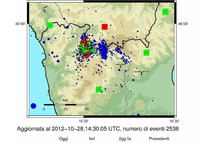 Terremoto del Pollino. Aggiornamento 28 ottobre ore 15:30