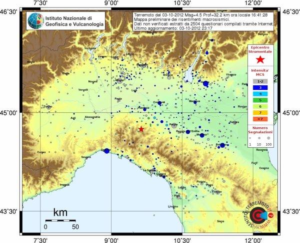 Terremoto in provincia di Piacenza, M4.5, 3 ottobre ore 16.41
