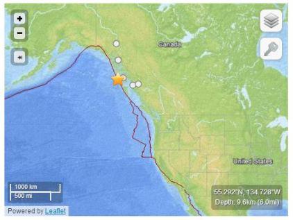 Localizzazione dell'evento (fonte USGS)