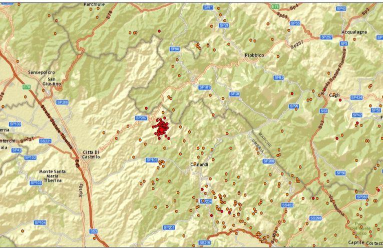 Sequenza sismica tra le province di Perugia e Pesaro Urbino (24 marzo)