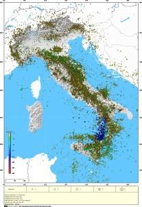Mappa epicentrale degli oltre 100.000 terremoti avvenuti in Italia e dintorni dal 2005 a oggi