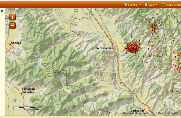 Sequenza sismica a Città di Castello (PG): aggiornamento 8 maggio ore 08.00