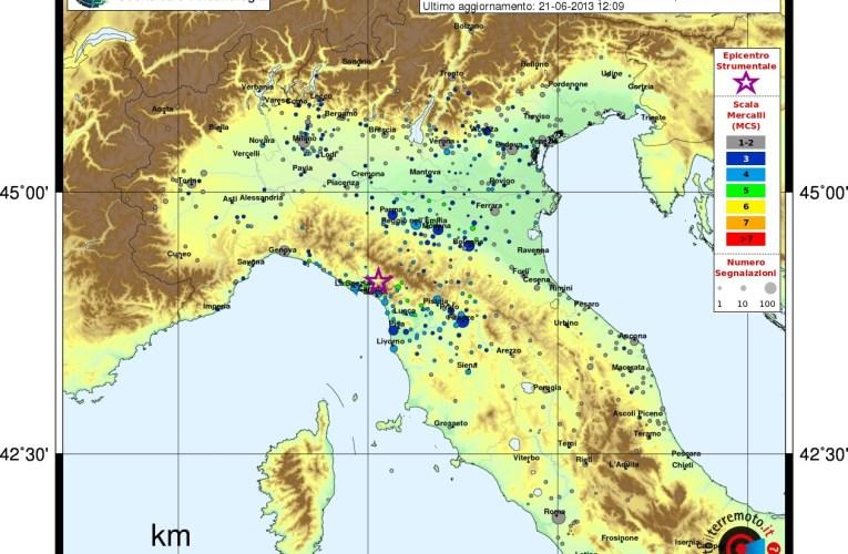 Aggiornamento sequenza sismica in Lunigiana ore 14.20