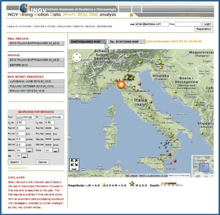 ISMD: il portale INGV dei dati accelerometrici in tempo reale
