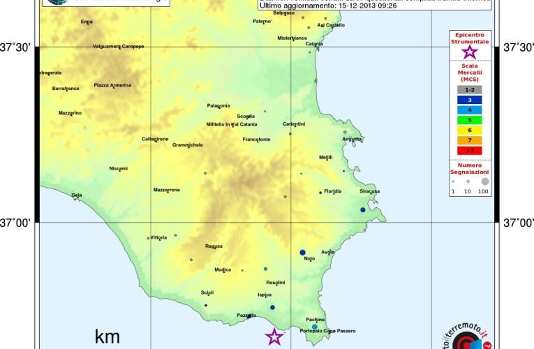 Evento sismico ML 4.1 Golfo di Noto – Capo Passero, 15 dicembre