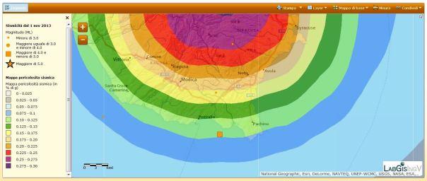 Epicentro del terremoto di questa mattina sovrappostao alla mappa di pericolistà sismica del territorio nazionale