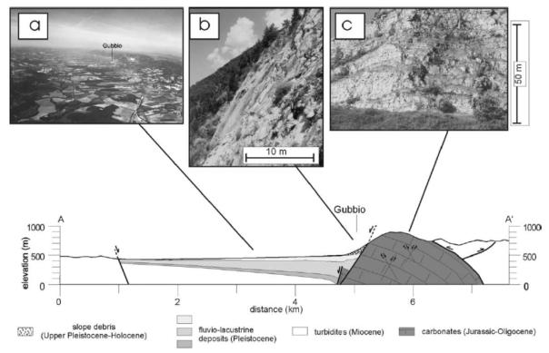 In basso: profilo verticale che taglia la valle, dove si vede la faglia di Gubbio che pone a contatto i calcari appenninici (a destra) con i sedimenti fluvio-lacustri della valle (a sinistra). In alto: a) veduta aereo del bacino; b) la faglia in affioramento; c) deformaizone estensionale nel blocco a monte della faglia (footwall)