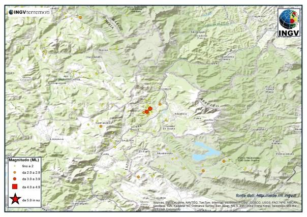 Localizzazione eventi sismici in provincia di Rieti, tra Amatarice e Cittàreale, nel mese di novembre