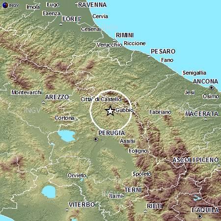Localizzazione evento sismico ML 3.9 del 18 dicembre alle 11:58.