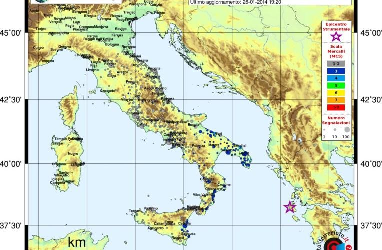 Evento sismico M 6.3 nelle Isole Ionie – Grecia, 26 gennaio 2014
