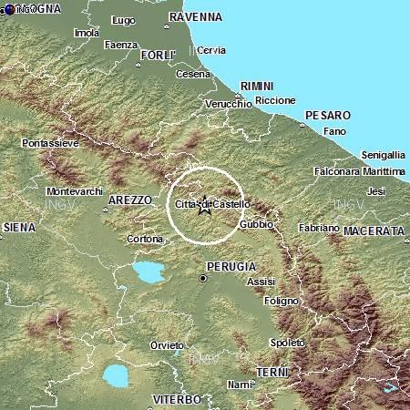 Localozzazione del terremoto di magnitudo 3.1 avvenuto questa mattina vicino a Città di Castello (PG).