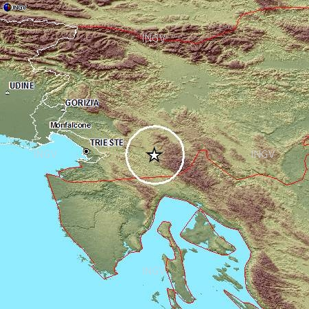 Evento sismico in Slovenia, M 4.7, 22 aprile 2014