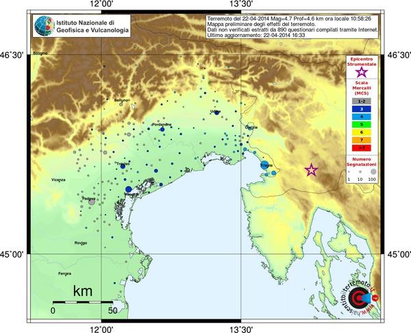 Mappa preliminare dei risentimenti segnalati al sito haisentitoilterremoto.it, aggiornata alle ore 11.41 di oggi.