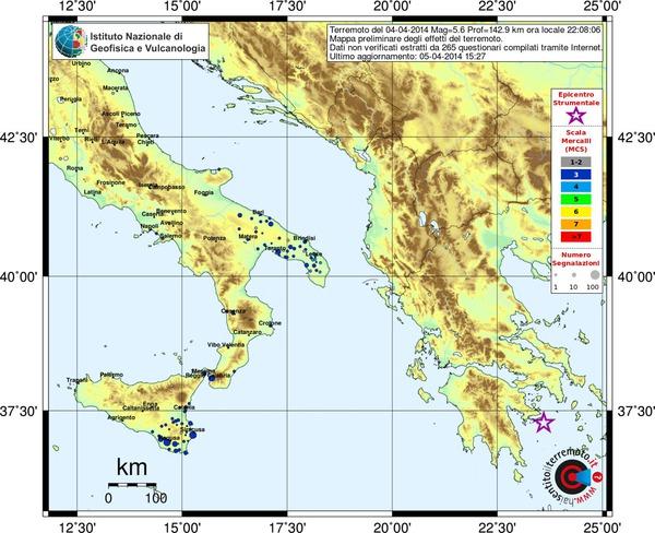 Mappa preliminare dei risentimenti segnalati al sito haisentitoilterremoto.it, aggiornata alle ore 15.27 di oggi.