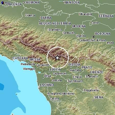 L'epicentro del terremoto Ml 4.0 delle ore 12:45 italiane.