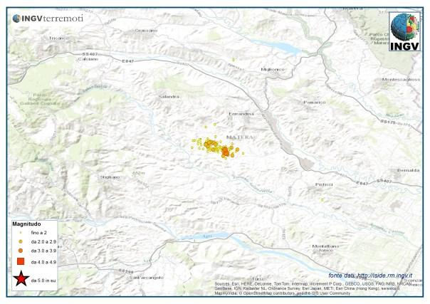 Gli eventi sismici registrati nella Provincia di Matera ad agosto.