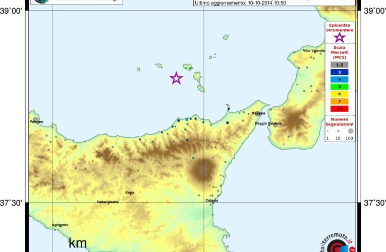 Evento sismico alle Isole Eolie, Ml 4.3, 10 ottobre ore 00.58