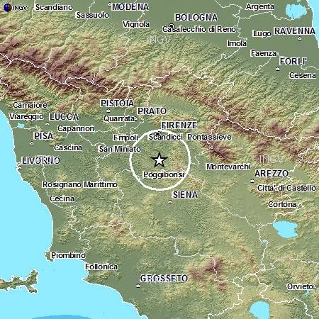 Localizzazione dell'evento sismico di magnitido 3.8 avvenuto oggi, 19 dicembre, alle ore 11.36 italiane.