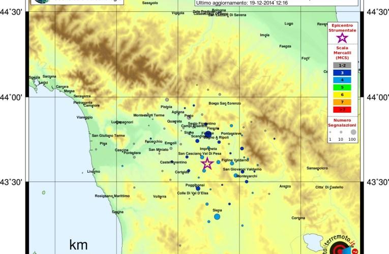 Evento sismico in provincia di Firenze, M4.1, 19 dicembre ore 11.36